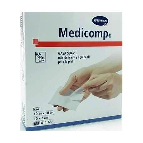 MEDICOMP COMPRESAS APOSITO ESTERIL 10 X 10 CM 10 SOBRES 2 U (20 GASAS)