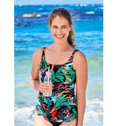 TANKINI ESTAMPADO TROPICAL NEGRO 6562 ANITA